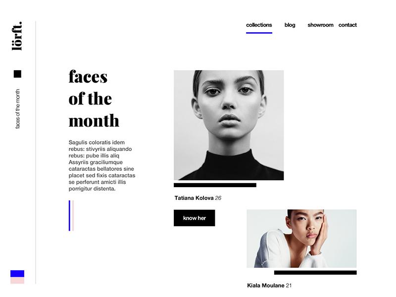 Fashion Website beautiful 2017 woman model illustration faces black typography typo website luxury fashion