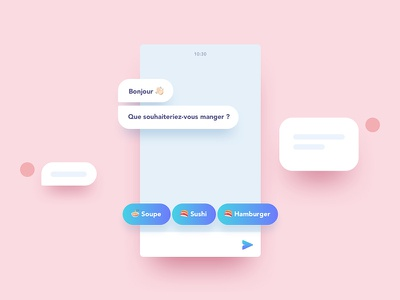 Chatbot sushi burger food room chat flat gradient shadow illustration phone device chatbot