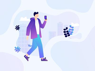 Man walking 🤓 nature man city phone man branding vector design gradient flat illustration