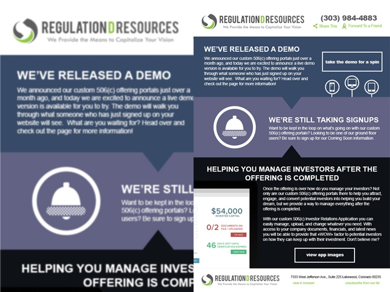 Demo Released Newsletter application investor relations investor end of the month newsletter