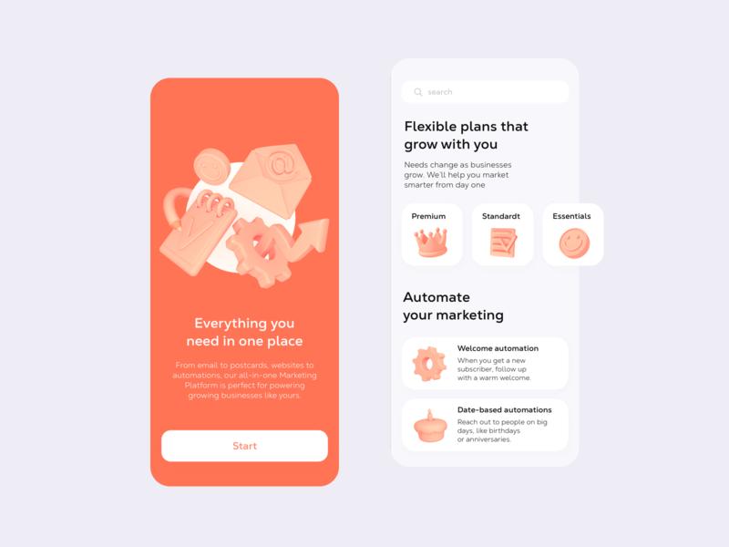 Marketing Platform Mobile App app mobile buisness 3dillustration cinema 4d