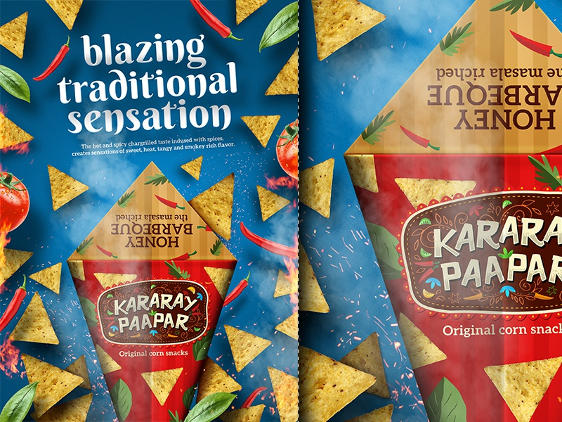 Kararay Paapar snack poster spicy crispy hot smokey fresh chips