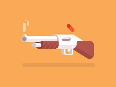 Shotgun 🔫 flat clean icon bullet vector weapon shotgun illustration gun armory
