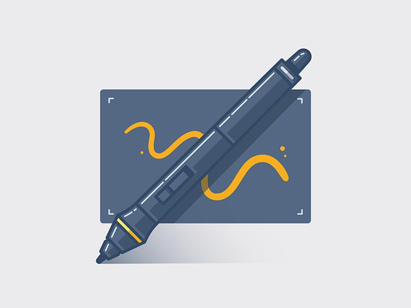Stylus Icon mobile tablet stylus pen wacom windows web vector responsive icon gradient gold