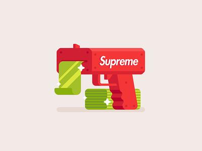 Supreme Cash Machine gun flat icon illustration money machine cash supreme