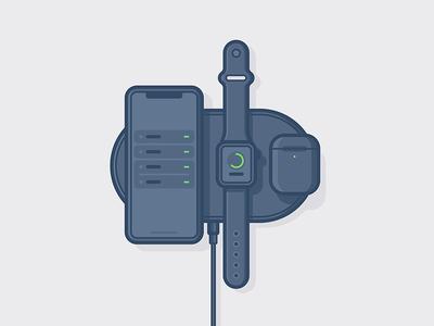 Apple Wireless Charging 🔌 wireless illustration charge apple headphones phone vector web mobile minimal icon watch