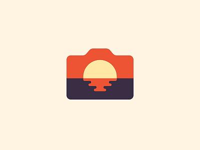 Sunset Photo vr.2 type simple monogram marks logo line lettering identity design sunset camera photo