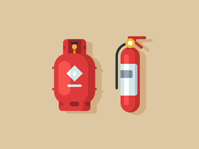 Style Test minimal equipment balloon extinguisher gas fire illustration vector web icon