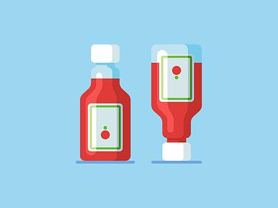 Ketchup 🍅 bottle tomato ketchup icon web vector illustration minimal