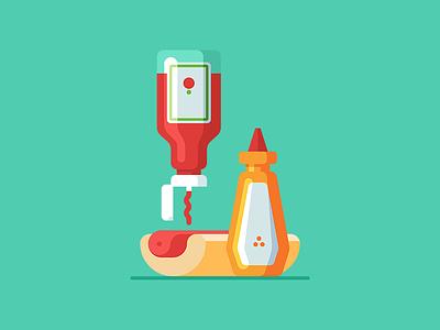 Hot Dog 🌭 hot dog minimal illustration vector web icon ketchup tomato bottle