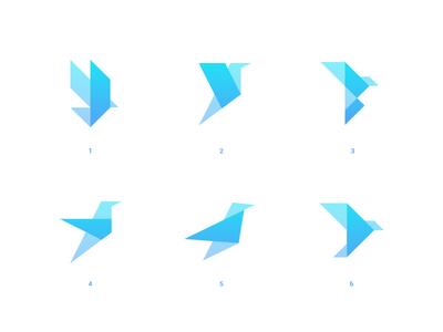 Origami Birds🦅 geometry geometric icon help design balance branding storage identity illustration line logo mark symbol blue simple bird origami
