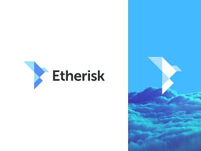 Etherisk - Logo simple bird origami mark symbol blue illustration line logo branding storage identity help design balance geometry geometric icon