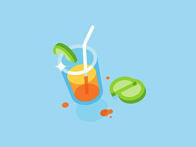 Summer time 🌞 glass icon web vector illustration minimal juice summer drink fruit lemonade