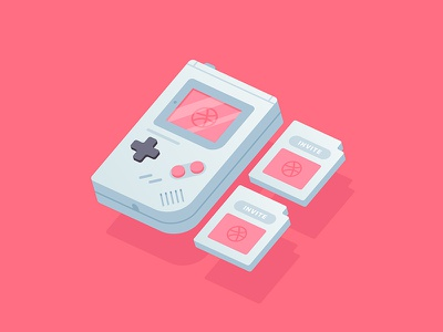 2x Dribbble Invites ✌️ game dribbble invite invitation player ticket debut icon giveaway invites gameboy vector pink