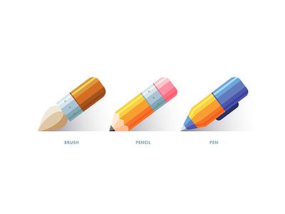 Icon Set brush pen icon web vector illustration minimal pencil draw