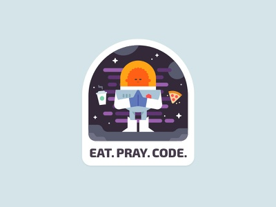 Sticker character clean line food astronaut cosmos sticker web minimal icon vector illustration