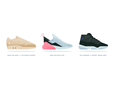 Sneakers clean flat design nike sneakers gradient simple icon minimal vector illustration
