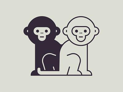Monkeys primate cute design line animal style new monkey minimal icon vector illustration