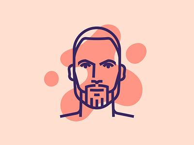 Self Portrait beard man character color design me self portrait line minimal icon vector illustration