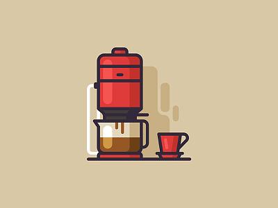 Coffee Machine cup machine minimal vector web icon bottle coffee braun illustration
