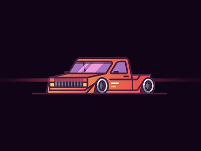 Car simple icon minimal color gradient flat perspective auto car rider line vector illustration