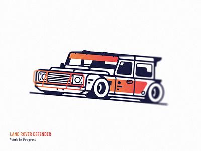 Wip flat sport rider auto gradient land rover car design minimal vector icon illustration