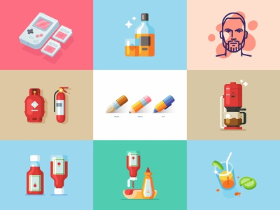 Top Nine 2018 web simple icon vector minimal design 2019 2018 trends 2018 illustration
