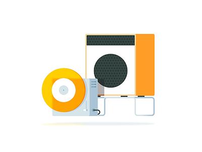 Player & Speaker simple clean illustration braun player dieter rams gradient flat line speaker icon vector