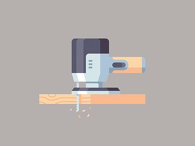Power Tool machine build wood tool power tool flat icon vector illustration