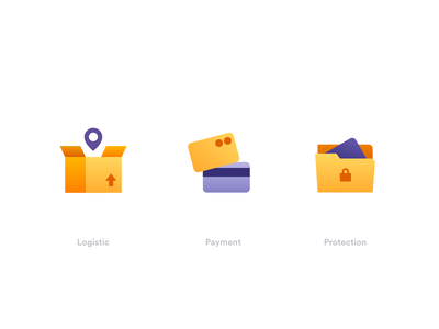 Icons protection payment logistic gradient flat minimal icon vector illustration