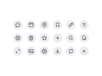 Icons ui line simple web minimal icon vector illustration