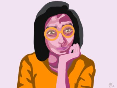 The curious girl illustration minimal ui vector sketchbook design illustration