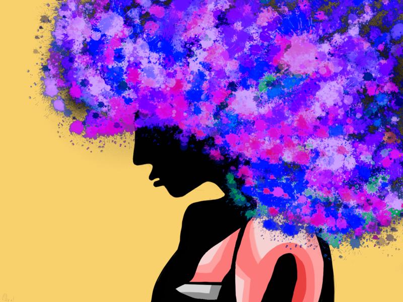 Girl with colourful hair illustration hair minimal vector design ui illustration