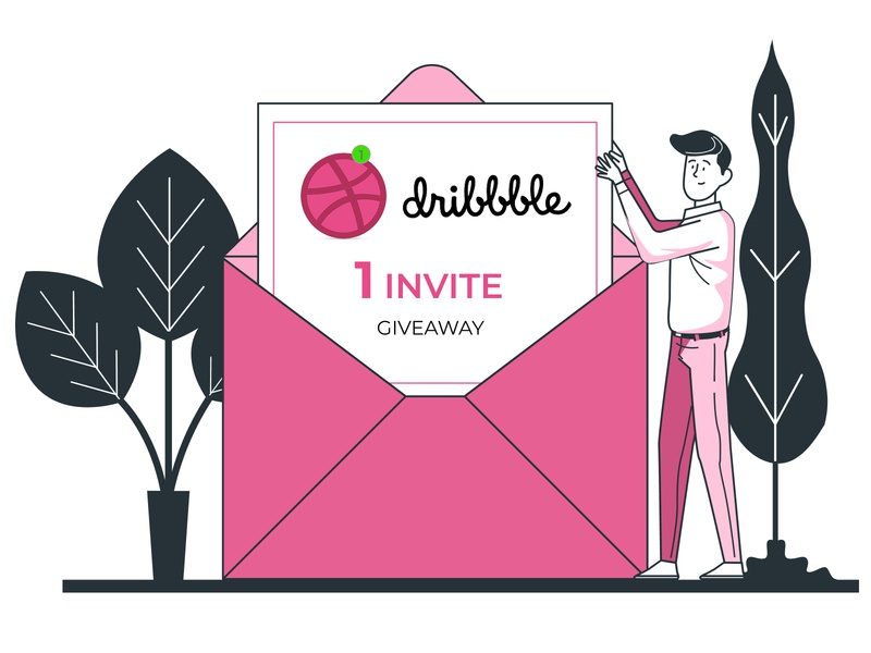 1 Dribbble invite giveaway one invitation minimal vector illustration ui dribbble invitation dribbble invite dribbble invite giveaway invite