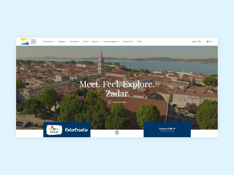 Zadar Travel redesign web ux ui design