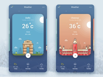 Weather App UI delhi ui design chennai india app vector ios mobile app icons interaction illustration weather