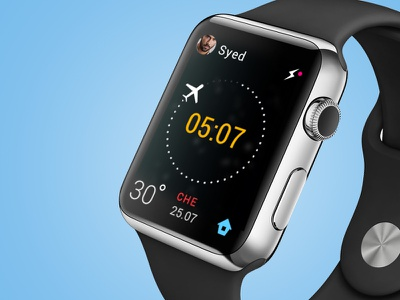 Watch UI for checking Flight status flight flight status ui illustration watch ui apple watch icons ux colors