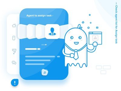 Chat Product - Find you Agent to assign task chat ghost illustration interaction icons onboarding product design chatproduct ios vector walkthrough
