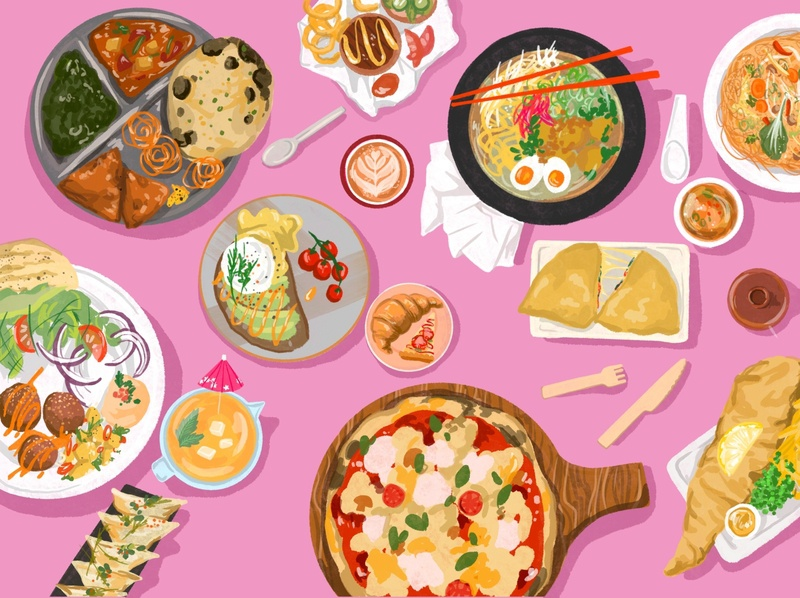 Food Coma food apps foodie deliveroo illustration procreate