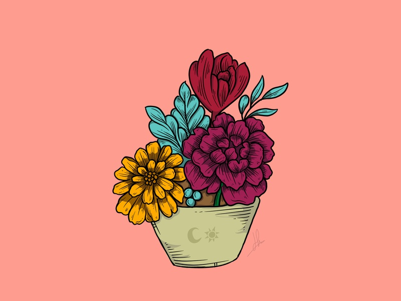 Drawing Collaboration collaboration flowers illustration vector illustration drawing design