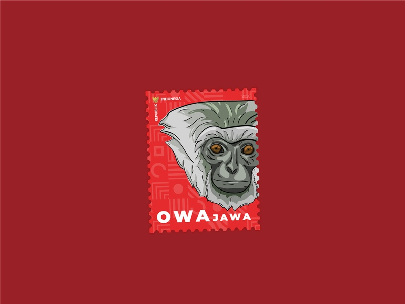 Owa Jawa Stamp stamps stamp monkey typography drawing vector illustration design