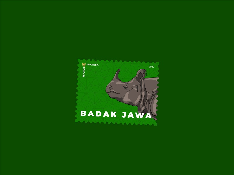 Badak Jawa Stamp stamp design rhino stamp stamps cartoon illustration drawing vector illustration design