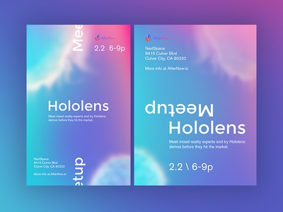 Hololens Meetup in LA poster future la los angeles mixed reality mr microsoft gradient hologram hololens
