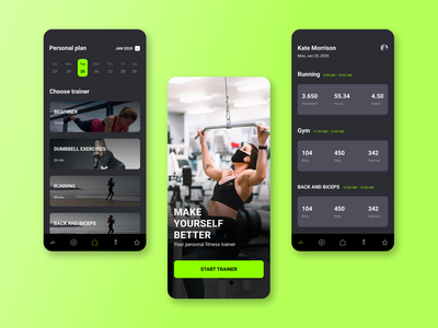 Gym IOS App Design workout training fitness gym design app app ux ui mobile design minimal