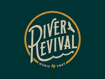 River Revival music festival air sun water texas apparel badge typography logo music river