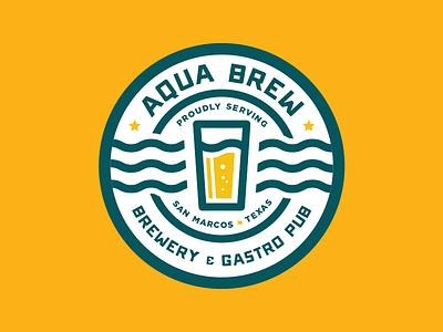 Aqua Brew gastro circle round pub brewery texas typography logo water beer badge