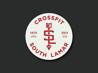 Crossfit South Lamar texas austin round circle badge south arrow crossfit fitness