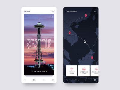 Daily UI 06 - Travel App UI product design vacation seattle dashboard ui dashboard ui design app ui app design app concept design app ui typography ux branding icons mobile daily ui ios icon