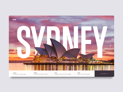 Daily UI 07 - Travel Website Hero product design app homepage hero australia sydney ux design ui design travelling travel app travel dashboard ui dashboard daily ui website minimal ux typography ui design