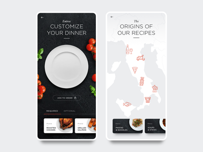 Daily UI 10 - Food App Restaurant Menu app ui ux minimal daily ui product design flat clean mobile ios web design web branding food restaurant type typography vector dailyui data visualization